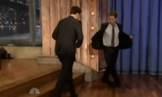 Sam Rockwell dancing on Jimmy Fallon