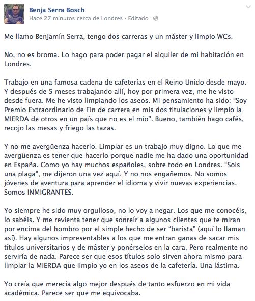 carta Benjamín Serra