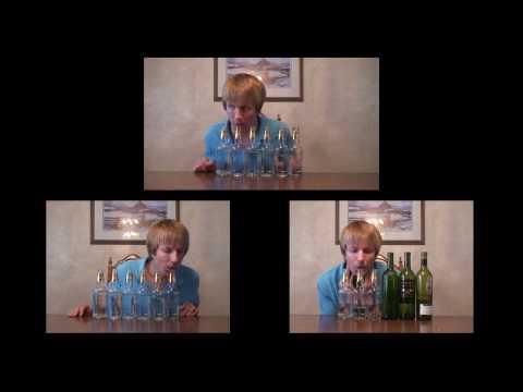 Through the Fire and Flame versionada soplando botellas de vino y cerveza