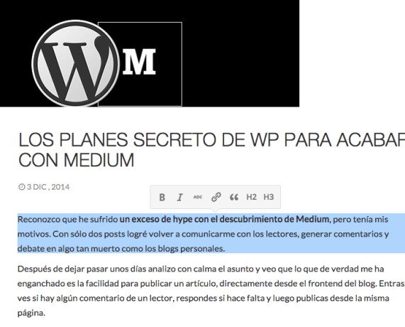 Medium en WordPress
