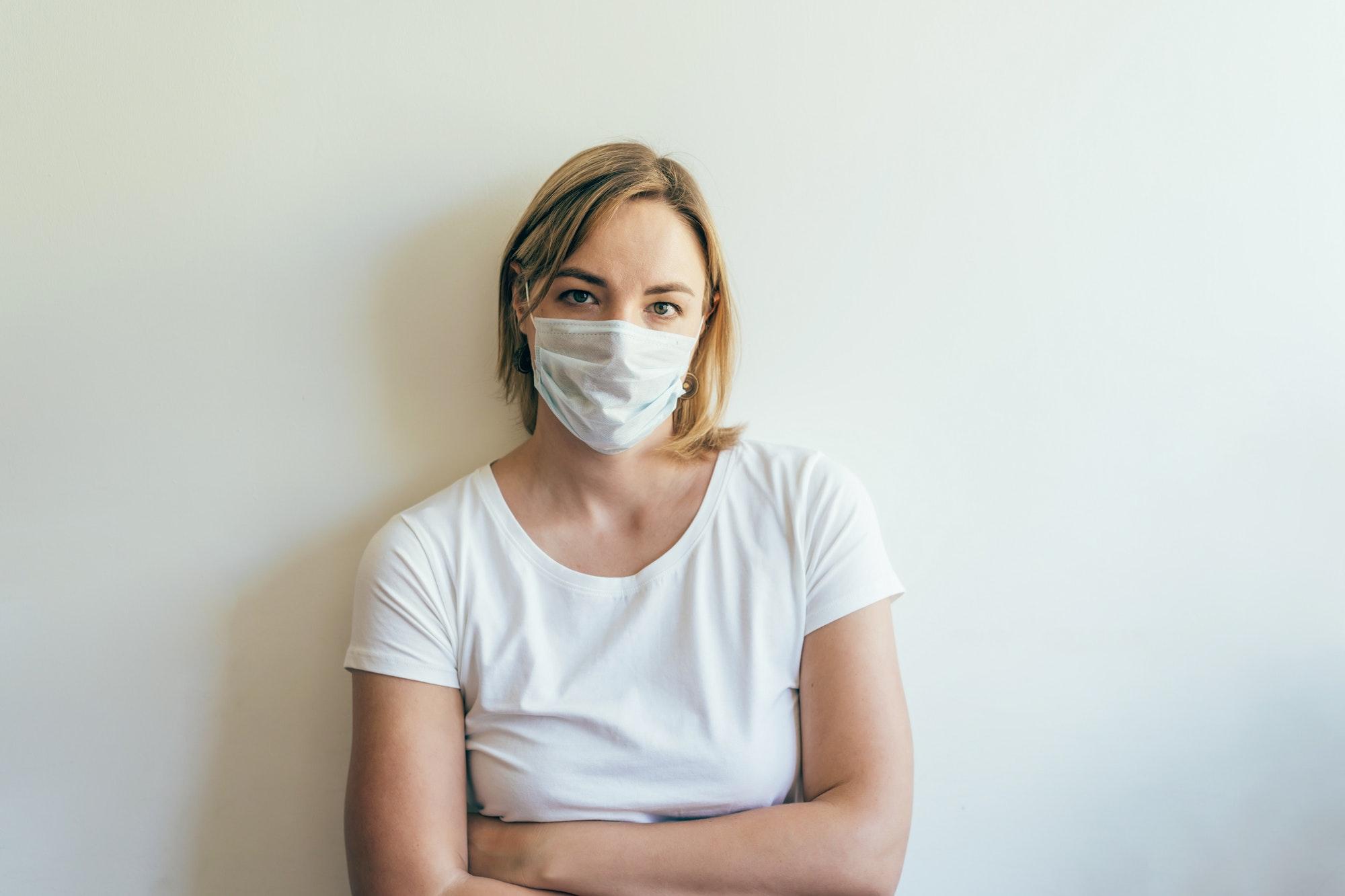 person; woman; virus; epidemic; medical; disease; flu; illness; mask; protection; sick; female;