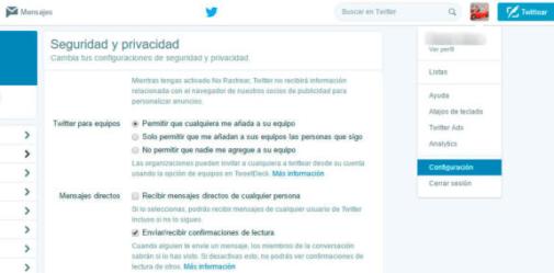 doble check azul Twitter