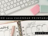 5 FREE 2019 CALENDAR PRINTABLES - SOYVIRGO.COM | TAKE NOTE