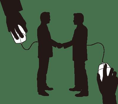 インターネットで握手するビジネスマンのシルエットイラスト