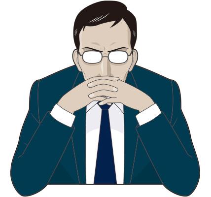 決断する男性ビジネスマンのイラスト