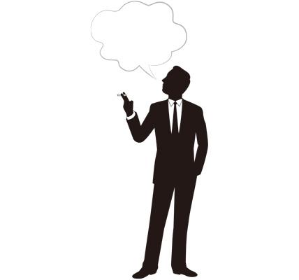 タバコを吸っている人のシルエットイラスト