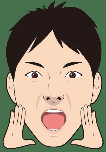 声援を送る若い男性の顔イラスト