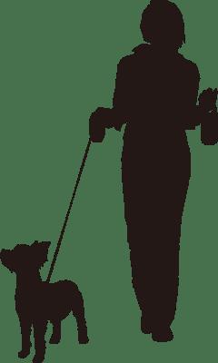 犬を散歩している女性のシルエットイラスト