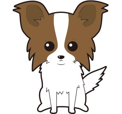 パピヨンの子犬のイラスト