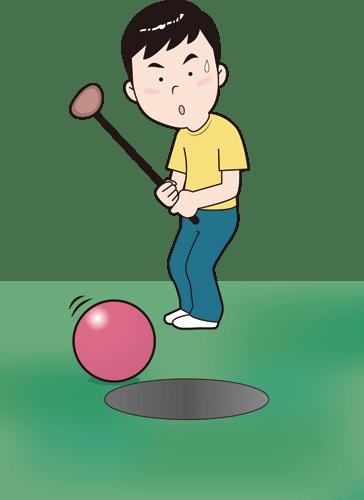 パークゴルフを楽しむ男性のイラスト