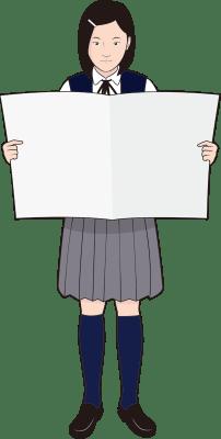 新聞を読む女子学生のイラスト