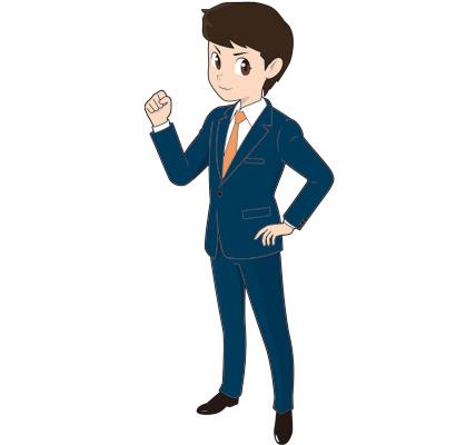 ガッツポーズする若い男性ビジネスマンのイラスト