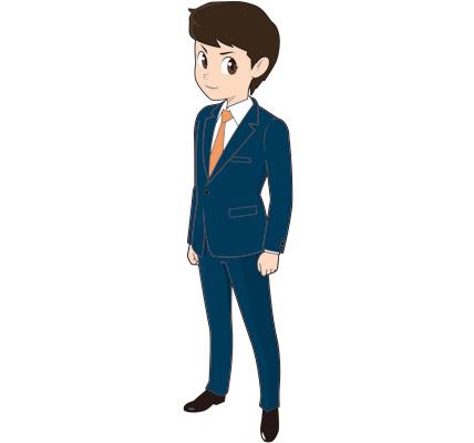素立ちの若い男性ビジネスマンのイラスト