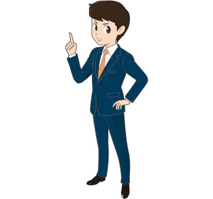 ポイント解説する若い男性ビジネスマンのイラスト