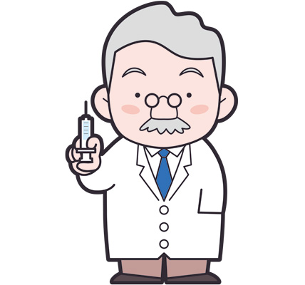 注射器を持つヒゲ博士のイラスト