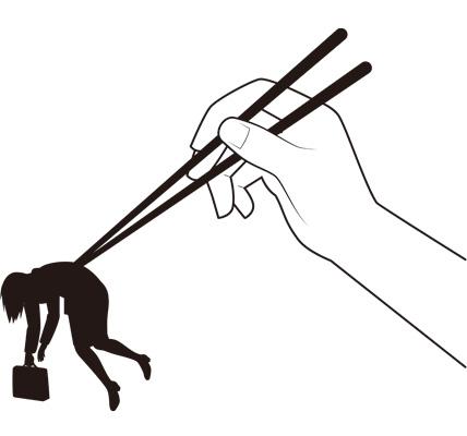 箸でつままれる女性会社員のシルエットイラスト