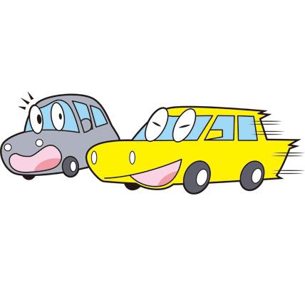 スピード運転をする車のイラスト