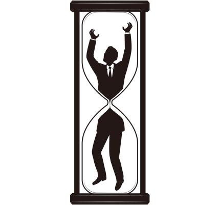 砂時計に吸い込まれている男性ビジネスマンのシルエットイラスト
