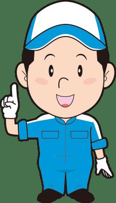指差しする男性整備士のイラスト