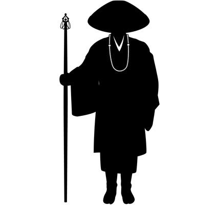 旅の僧侶のシルエットイラスト