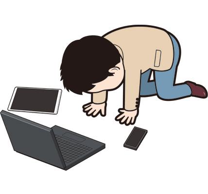 挫折する男性Webデザイナーのイラスト