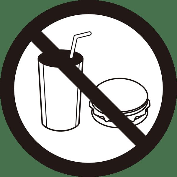 ビジネス 飲食禁止アイコン(モノクロ)
