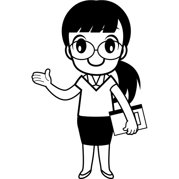 人物 教師(学校の先生)(モノクロ)