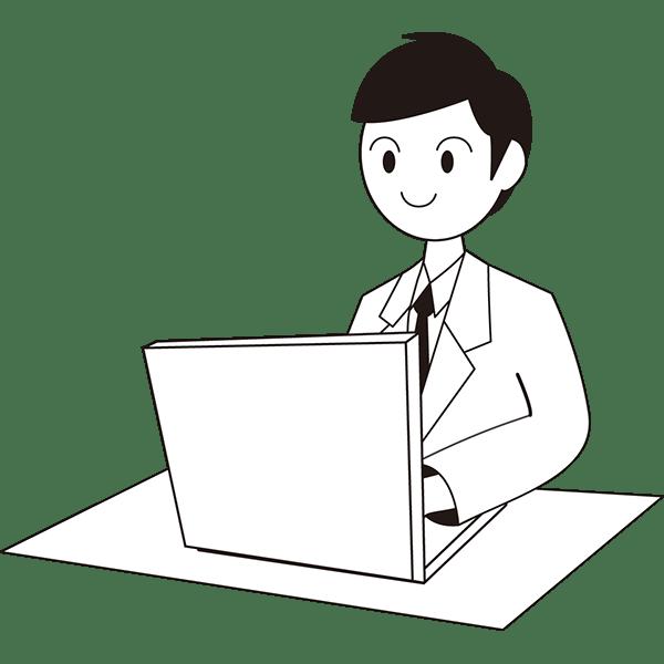 人物 ビジネスマン(男性・会社員)(モノクロ)