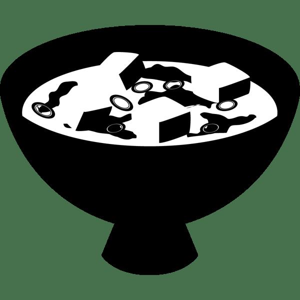 食品 味噌汁(みそ汁)(モノクロ)
