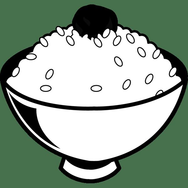食品 ごはん(白米と梅干し)(モノクロ)