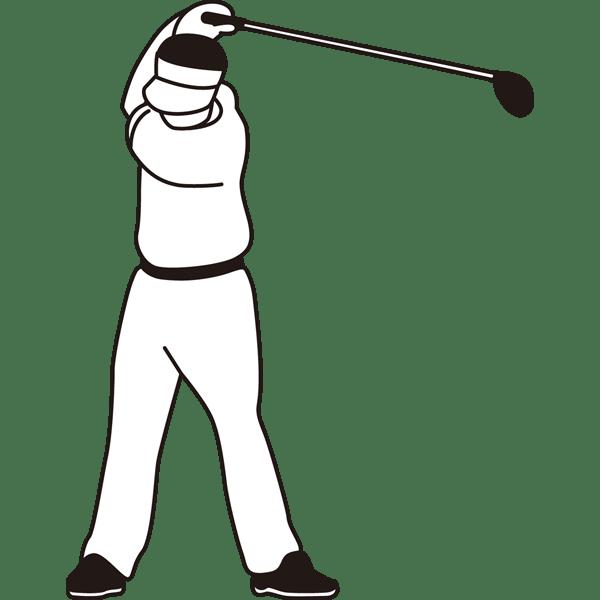 ゴルフ ゴルフスイング(モノクロ)