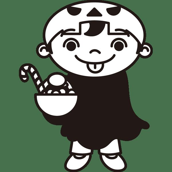 年中行事 子供(お菓子)(モノクロ)