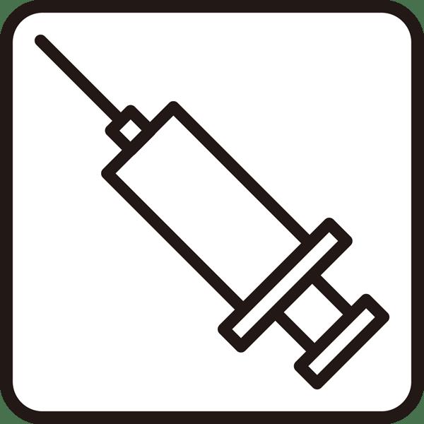 医療 注射器アイコン(モノクロ)