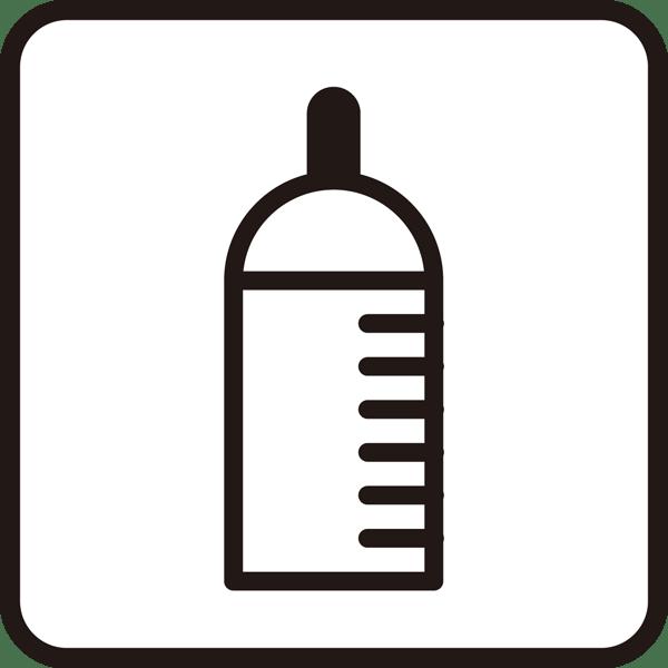 医療 哺乳瓶アイコン(モノクロ)