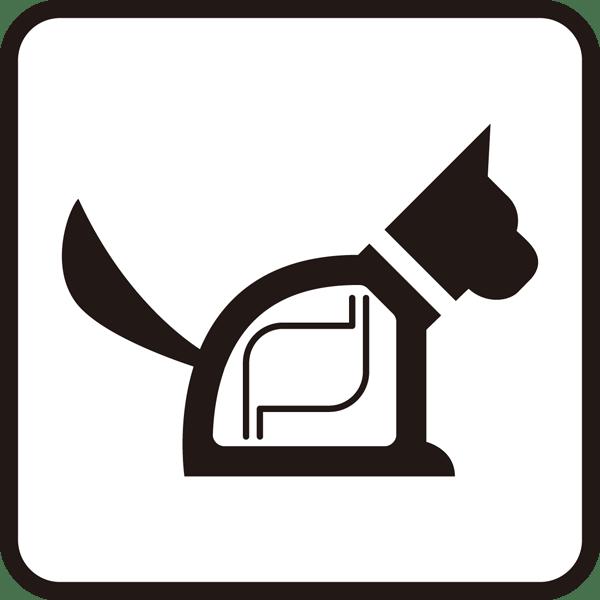 社会 犬アイコン(レントゲン風)(モノクロ)