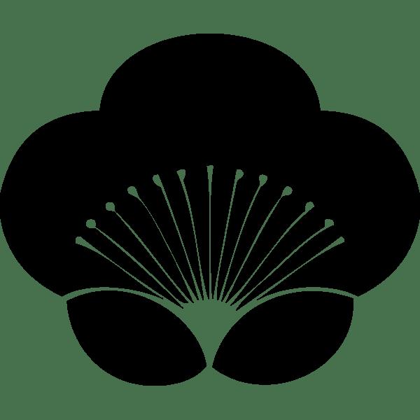 年中行事 梅の花モノクロ 無料イラストpowerpoint