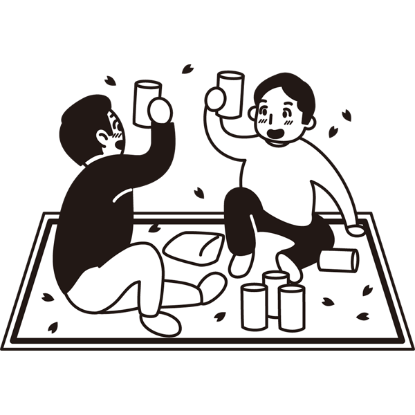 年中行事 お花見(乾杯)(モノクロ)