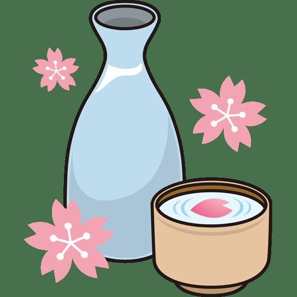 年中行事 お花見のお酒桜と日本酒カラー 無料イラスト