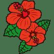 植物 ハイビスカス(赤色)(カラー)