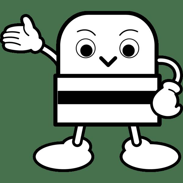 学校 消しゴム(消しゴムキャラクター)(モノクロ)