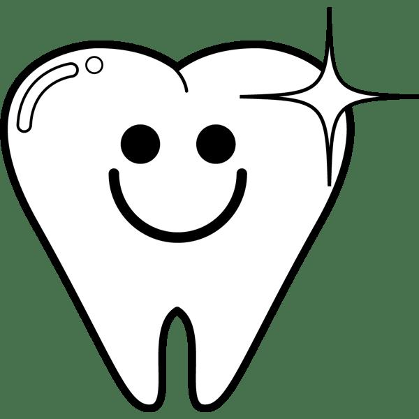 学校 歯(ハミガキ)(モノクロ)