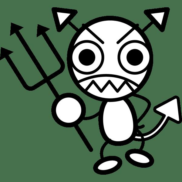 学校 ばい菌(バイキン)(モノクロ)
