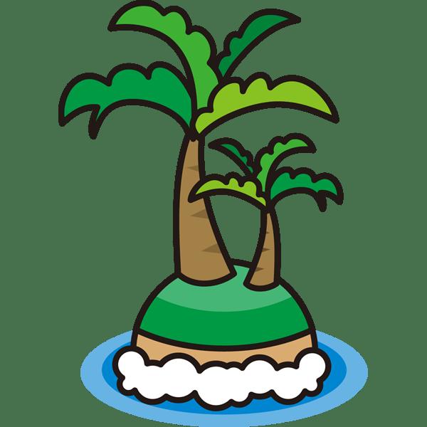 自然 海(ヤシの木・島)(カラー)