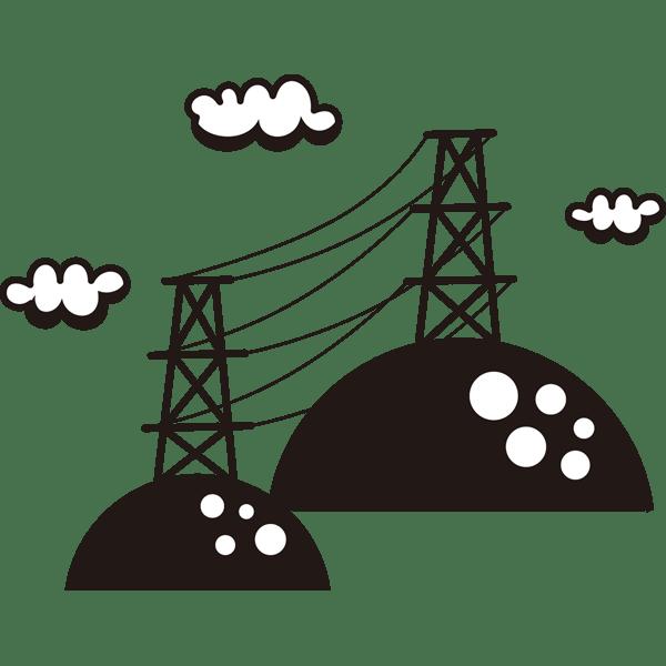 自然 山電波塔モノクロ 無料イラストpowerpointテンプレート
