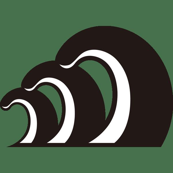 自然 海(波・シルエットイラスト)(モノクロ)