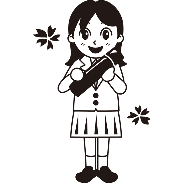 年中行事 女子生徒(卒業証書)(モノクロ)
