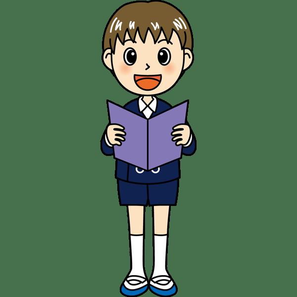 学校 男子生徒(歌を歌う男の子)(カラー)