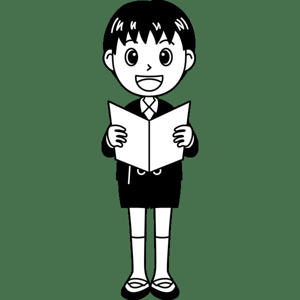 学校 男子生徒(歌を歌う男の子)(モノクロ)