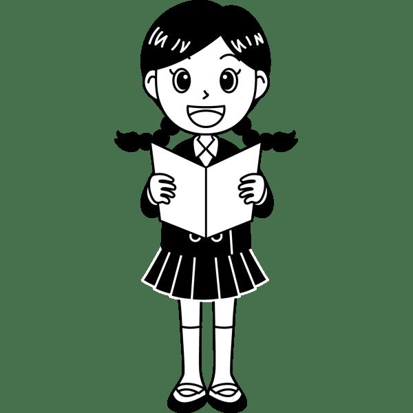 学校 女子生徒(歌を歌う女の子)(モノクロ)