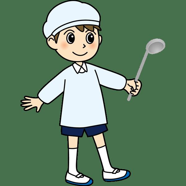 学校 男子生徒(給食当番の男の子)(カラー)